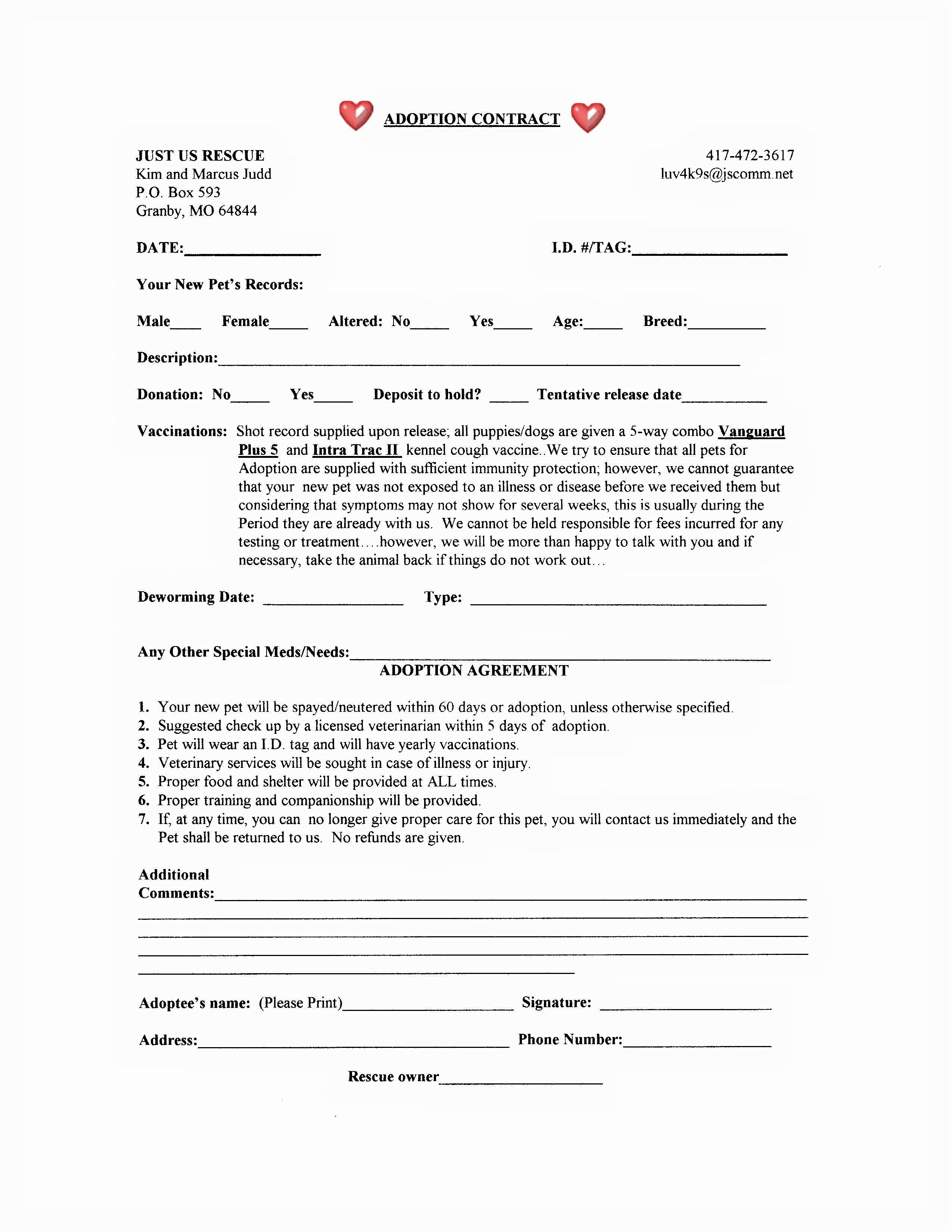 Adoption Contract